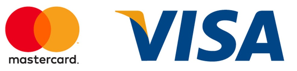 Mastercard logo and VISA logo
